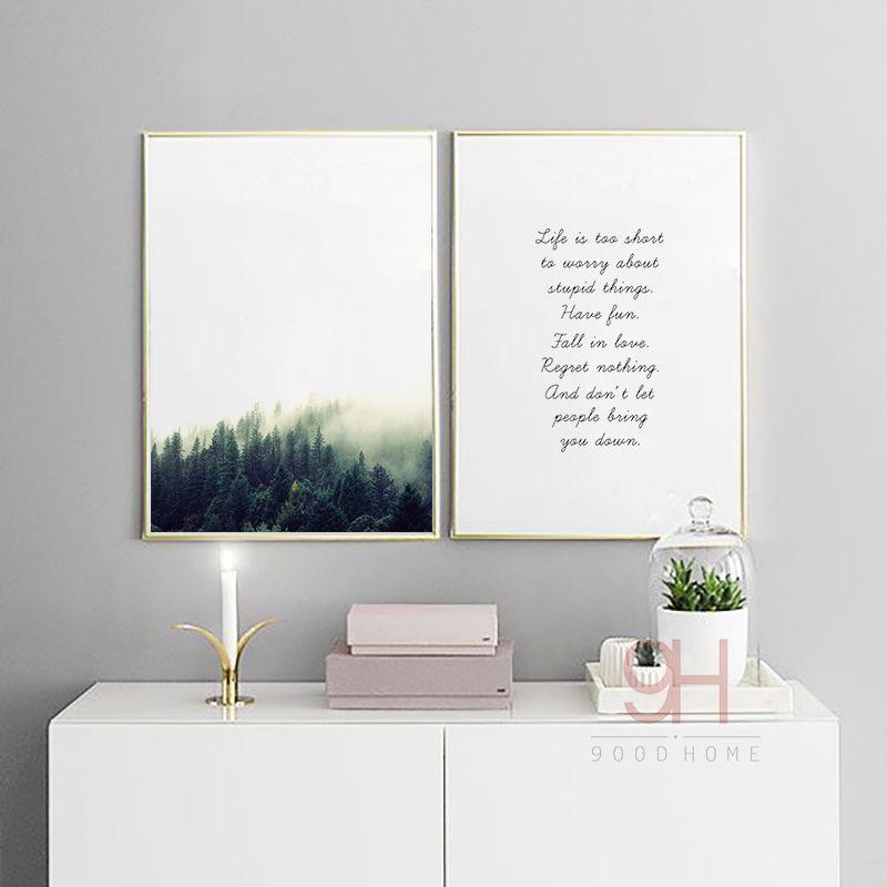 Canvas Art Print Poster Pintura Del Paisaje forestal, Estilo nórdico Pared Cuadros para la Decoración Del Hogar, Decoración de la pared BW004