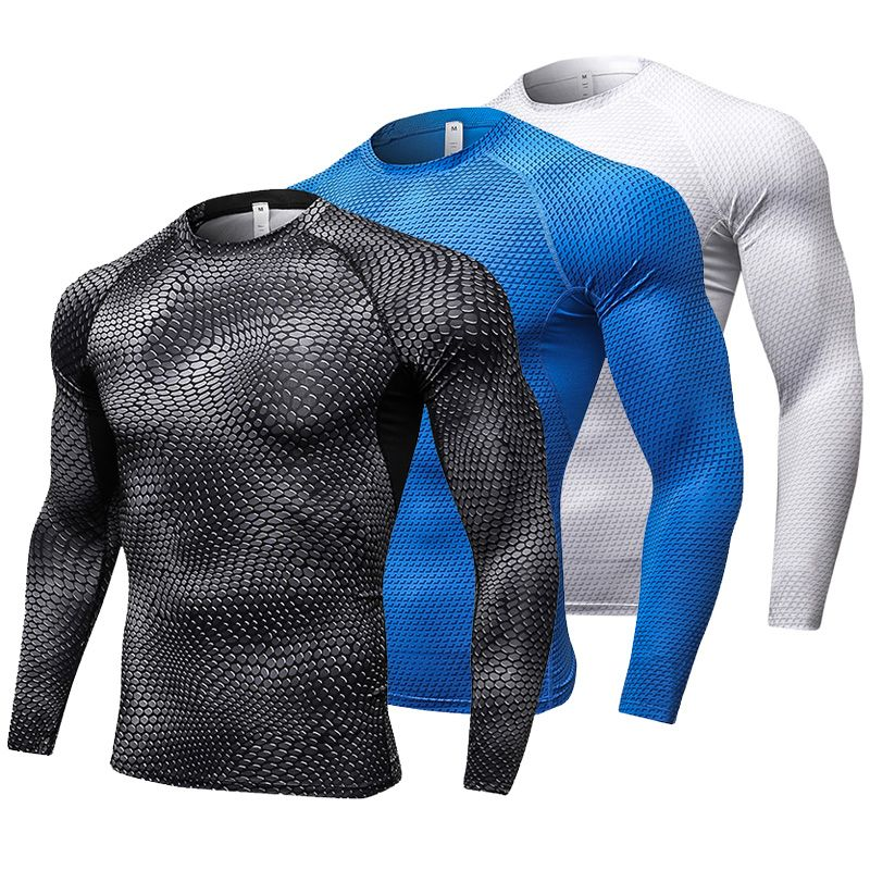 YD New Long Sleeve Sport Shirt Men Quick Dry Men's Running T-shirts Snake Gym Clothing Fitness Top Mens Rashgard Soccer Jersey