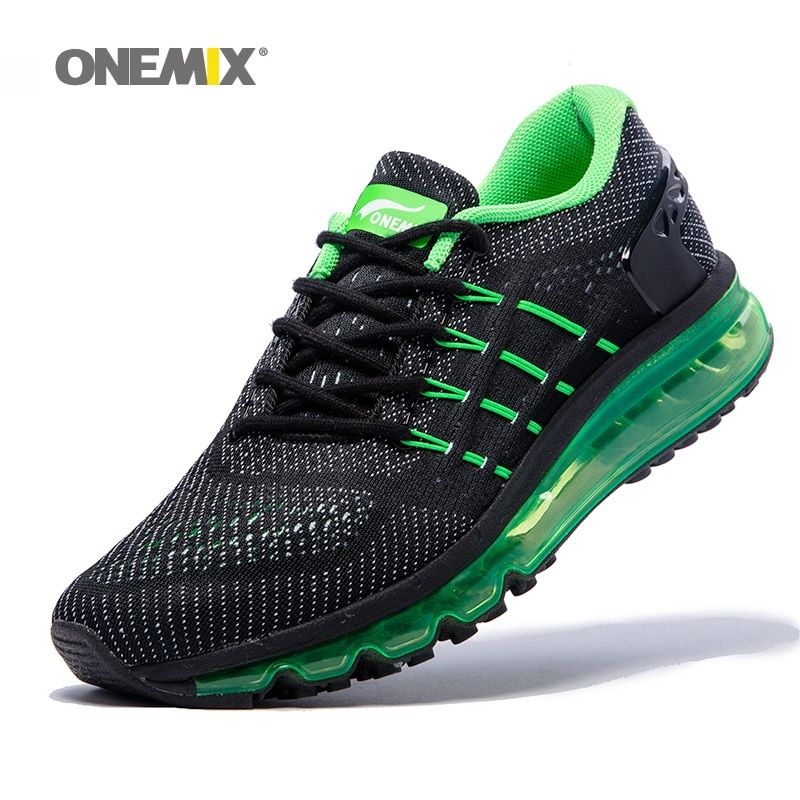 Air Women Running Shoes for Men 2017 Unique Shoe Tongue Athletic Trainers Black Green Breathable Sports Shoe Cushion Sneakers