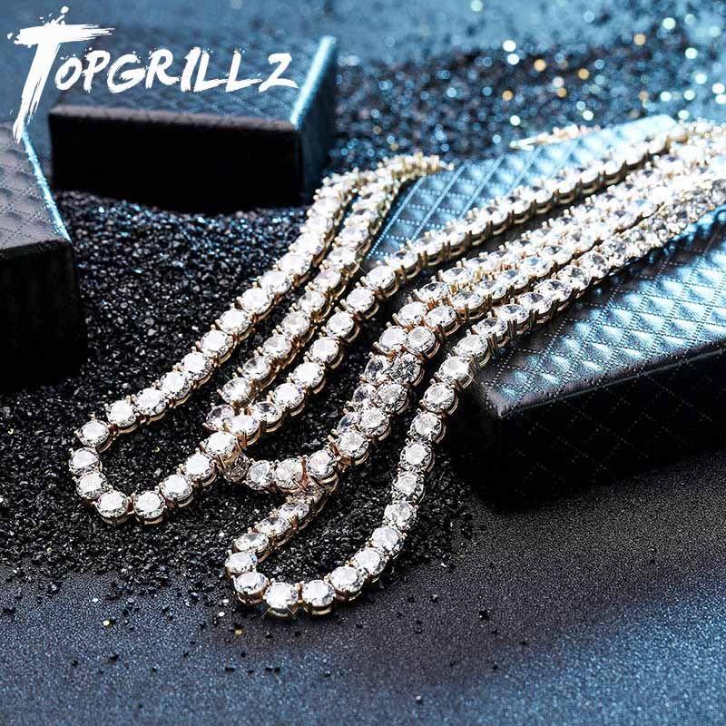 Neue 925 Sterling Silber 4mm 6mm männer Halskette Bling CZ Iced Out Hip Hop Link Tennis Kette silber Gold Halskette Schmuck Für Geschenk