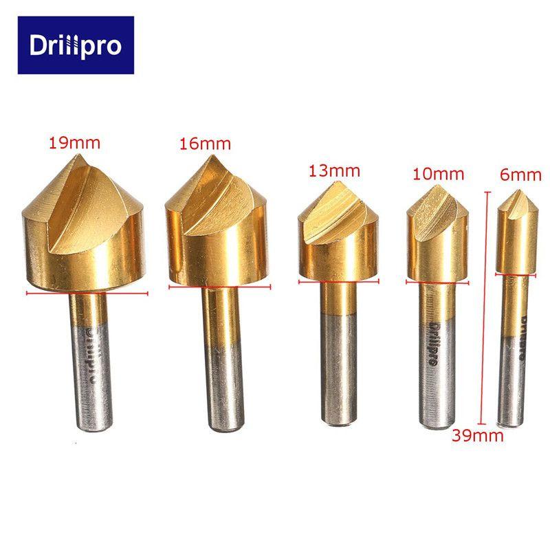 5 teile/satz Metric Holzbearbeitung Senker Bohrer 90 Grad Einzelne Flöte Rand Fase 6mm-19mm High Carbon stahl Holz Bohren