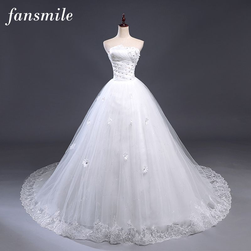Fansmile Sexy Off the Shoulder Train Wedding Dresses 2017 Vintage Lace Up Plus Size Ball Wedding Gowns Vestidos de Noiva