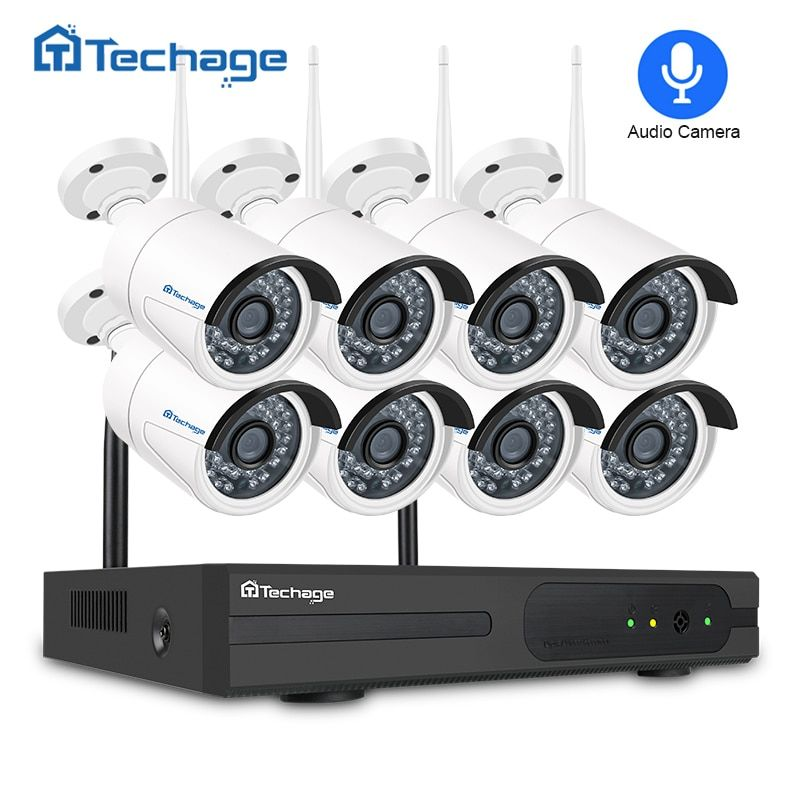 Techage 8CH Wireless CCTV Security System 1080P Wifi NVR Kit 8PCS 2MP Outdoor Audio IP Camera P2P Video Surveillance System 2TB