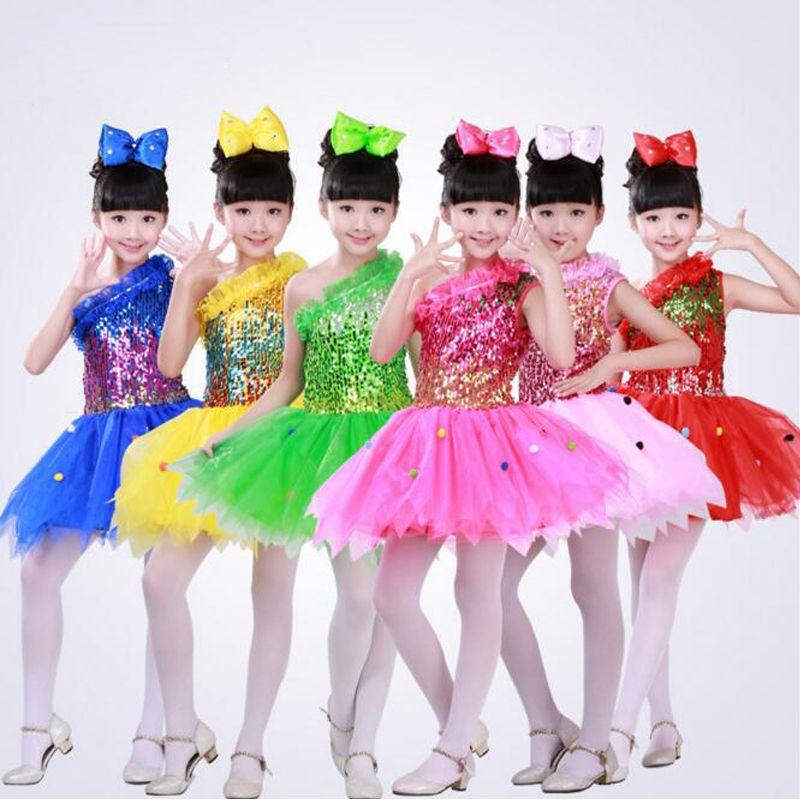 Enfants Ballet danse robe tutu robe Filles Paillettes Ballroom Jazz Party Stade vêtements de danse costumes robe Tenues robe