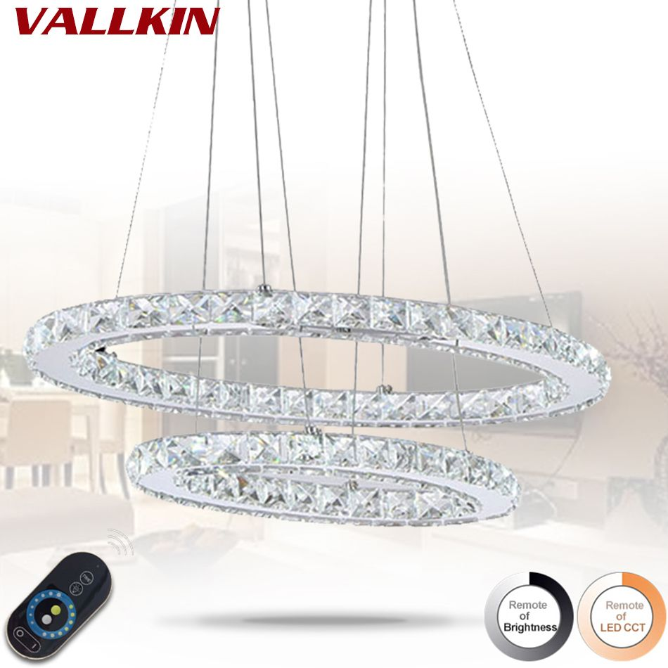 Dimmable 45W Oval Double Ring Crystal LED Pendant Light Indoor Home Deco Pendant Lighting Cristal Fixtures for Dining Room Bar