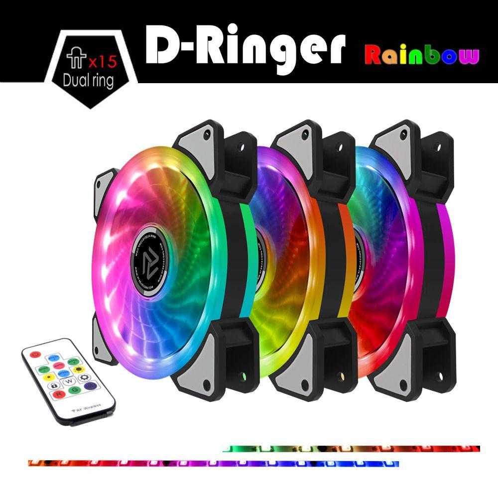 ALSEYE RGB fan 120mm cooler Computer fan Dual LED Ring Multicolor Fans for PC Remote Control Dozens Modes LED Quiet Fan