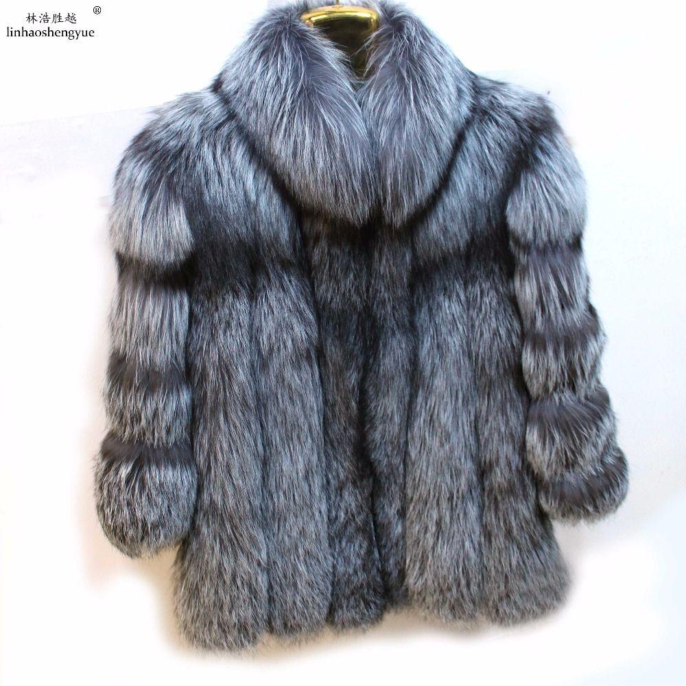 Linhaoshengyue winter fashion Silver Fox fur coat women Silver fox fur coat with stand collar