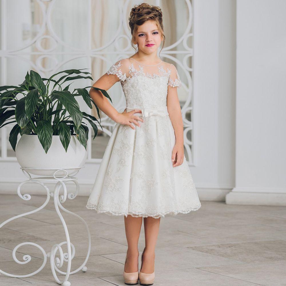 Модное белое трапециевидное платье до колен для девочек платье принцесса с коротким рукавом ленточным бантом и застёжкой на пуговицу сзади...