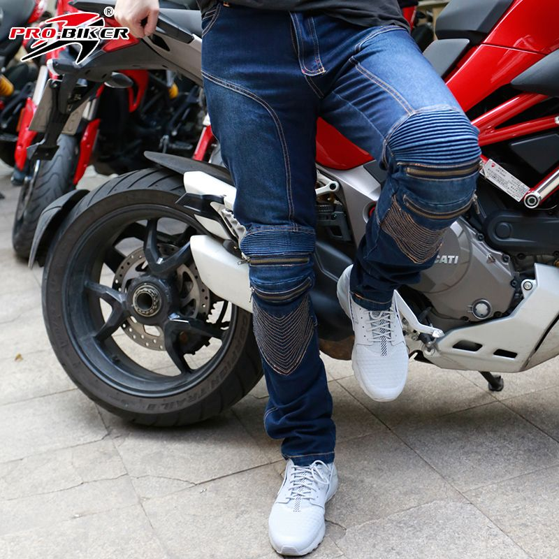 Motorcycle Leisure Pants Casual Pants Men's Motorbike Motocross Off-Road Knee Protective Moto Jeans Trousers CE Protection