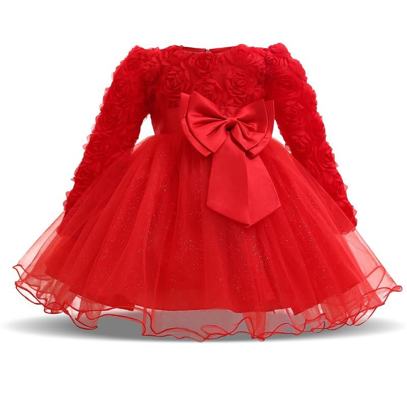 New Kids Girls Flower Wedding Dress Christmas Costume Baby Tulle Fancy 1st 2nd Birthday Infant Party Dresses Girl Winter Clothes