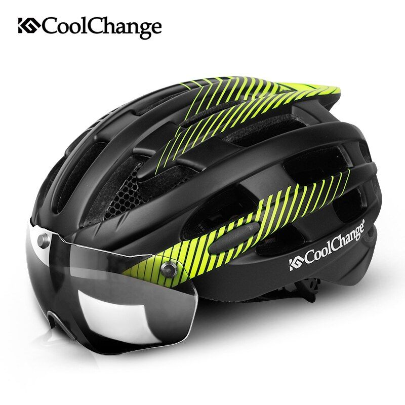 CoolChange Cycling Helmet With Light Windproof Glasses Bike Helmet MTB Insect Net Integrally Molded Men Women Bicycle Helmet