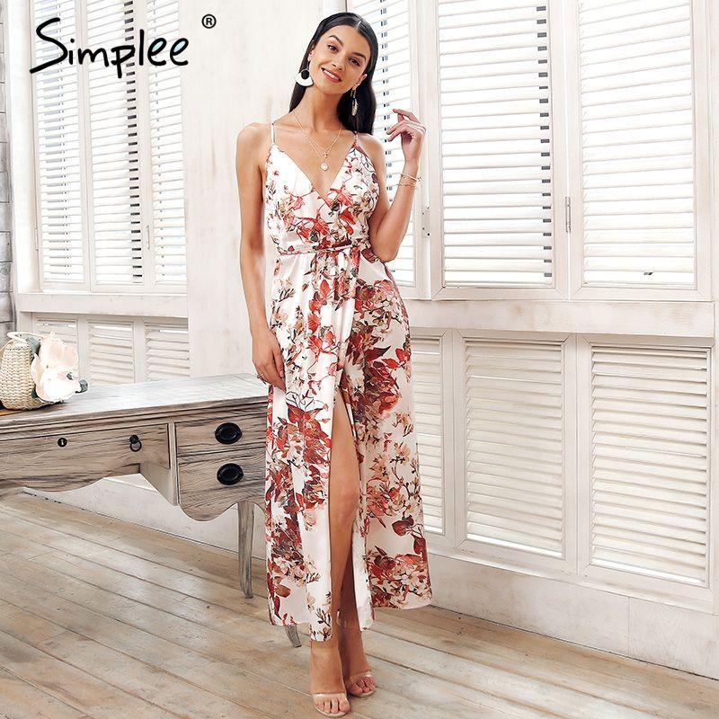 Simplee Strap backless satin summer dress Women floral print bohemian maxi dress High split beach causal long dress vestidos