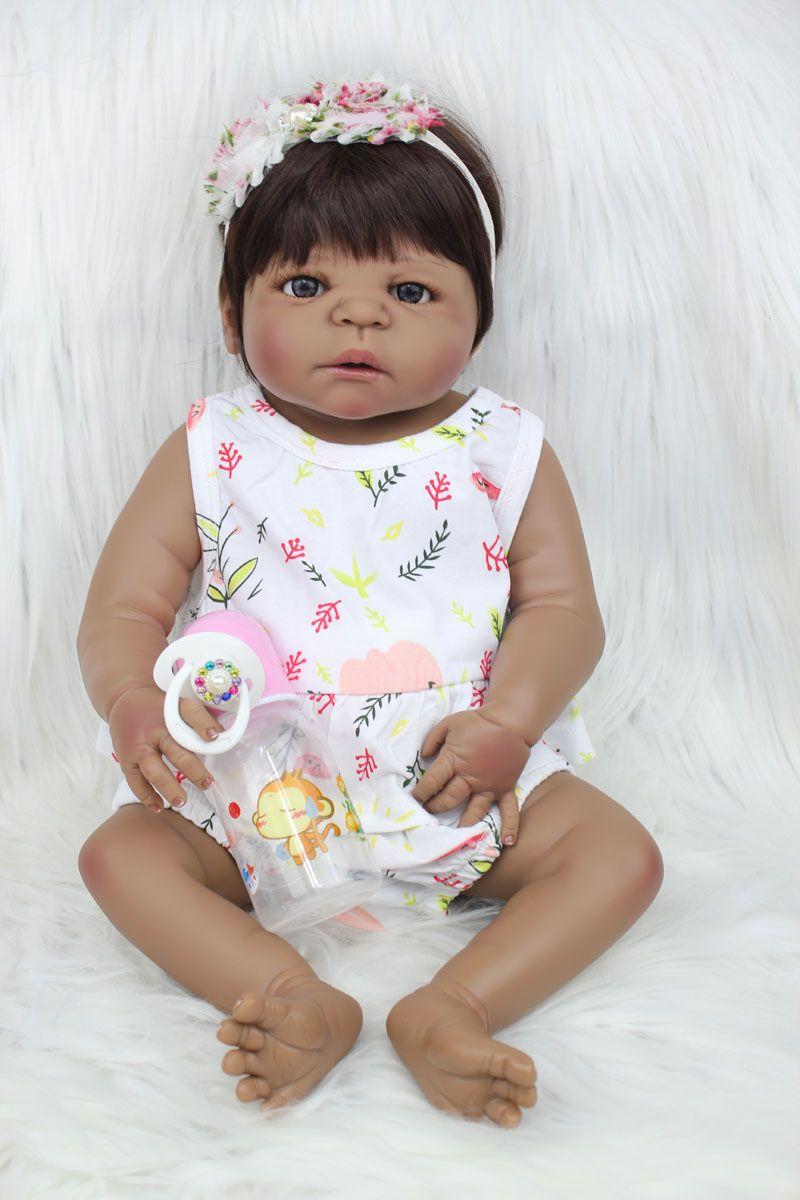 55cm Full Body Silicone Reborn Baby Doll Toy 22inch Black Skin Newborn Girl Princess Toddler Babies Doll Child Bathe Toy
