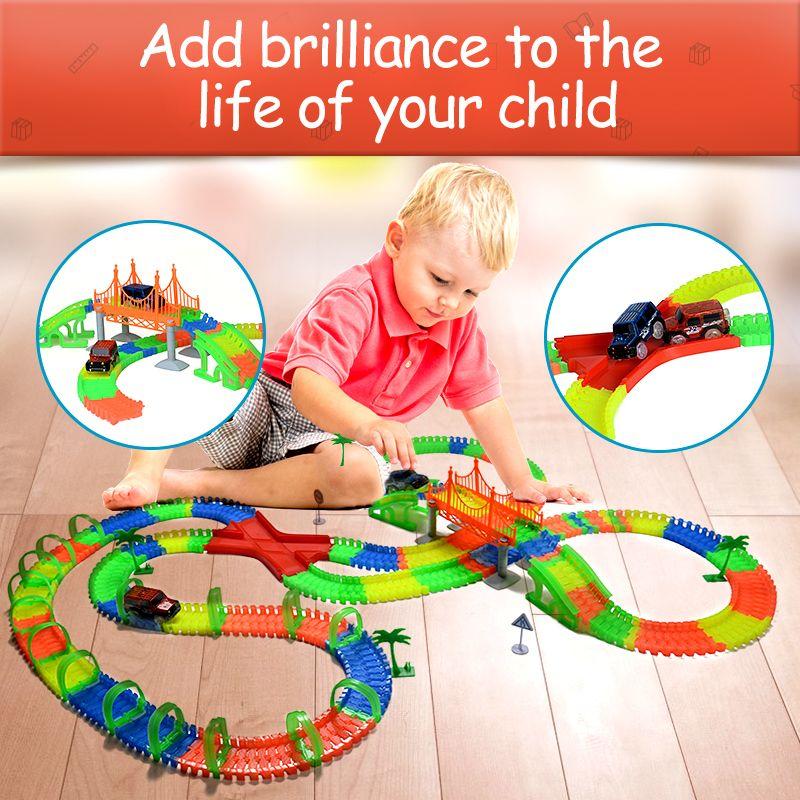 Railway road model glow stunt glowing mini race luminous racing flexible slot cars magical truck toys for boys miracle tracks