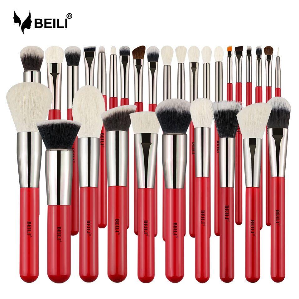 BEILI Rot 30 stücke Professionelle Make-Up Pinsel Set Natürliche Haar Powder Foundation Rouge lidschatten brow liner Make-Up Pinsel Werkzeug