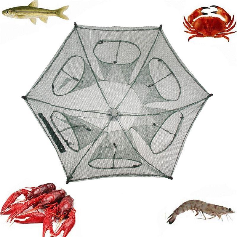 Foldable Portable Hexagon 6 Hole Fishing Shrimp Trap Fishing Net Fish Shrimp Minnow Crab Baits Cast Mesh Trap Nets Pesca