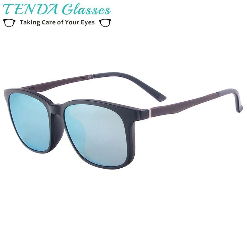 Hommes TR90 léger pleine jante lunettes femmes carré magnétique polarisé Clip sur lunettes de soleil pour myopie lentille multifocale