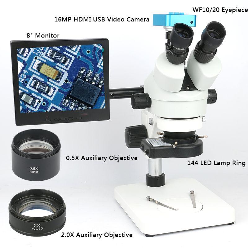 Simul focal 3.5~90X Trinocular Stereo Microscope 16MP HDMI Microscope Camera +144 LED Light + 8