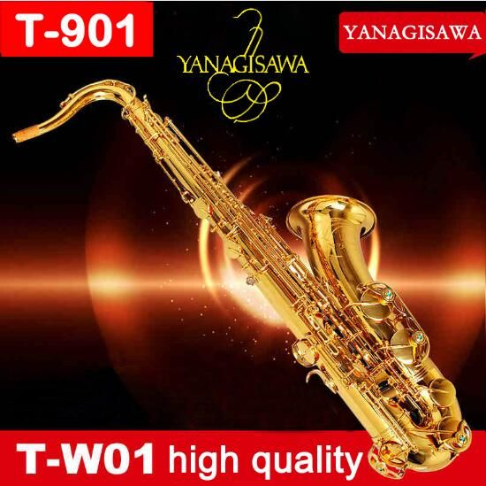 YANAGISAWA T-991 T-WO10 Tenor Saxophone Gold Lacquer B Flat Bb Brass Tube Sax Brand Instruments With Case, Gloves For Students