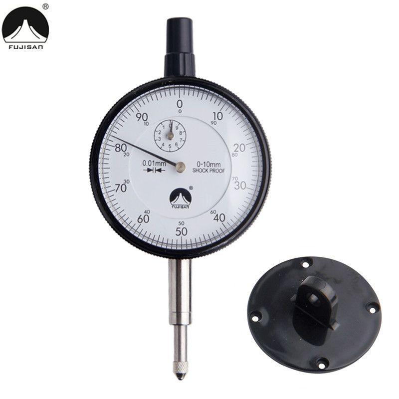 FUJISAN Dial Indicator 0-10mm/0.01mm Dial Gauge Shockproof Test Indicators Measuring Tools