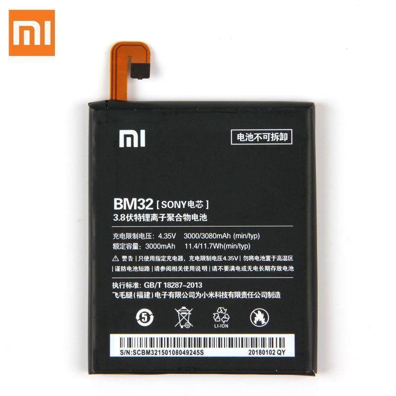 Original XIAOMI BM32 Replacement Battery For Xiaomi Mi 4 M4 Mi4 Authentic Phone Batteries 3080mAh