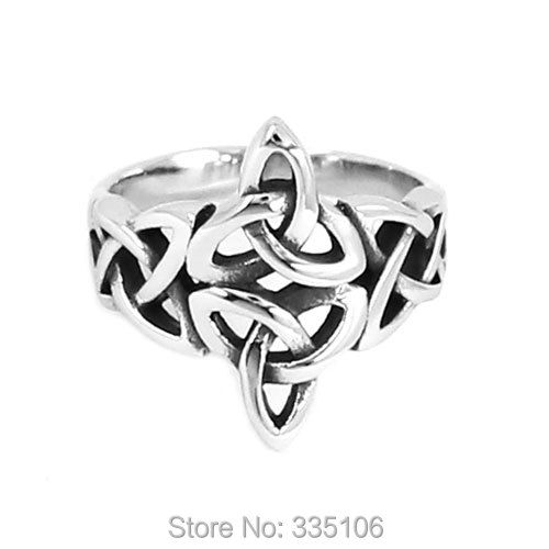 Wholesale Claddagh Irish Patter Biker Ring Stainless Steel Jewelry Silver Celtic Knot Ring Wedding Ring for Women SWR0637