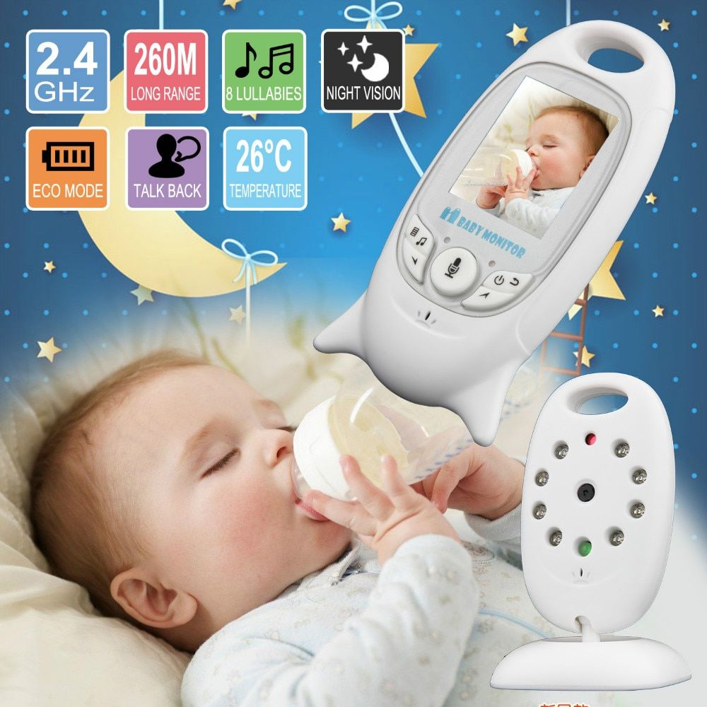 Baby Sleeping Monitor Color Video Wireless Baby monitor baba electronic Security 2 Talk Nigh Vision <font><b>LED</b></font> Temperature Monitoring
