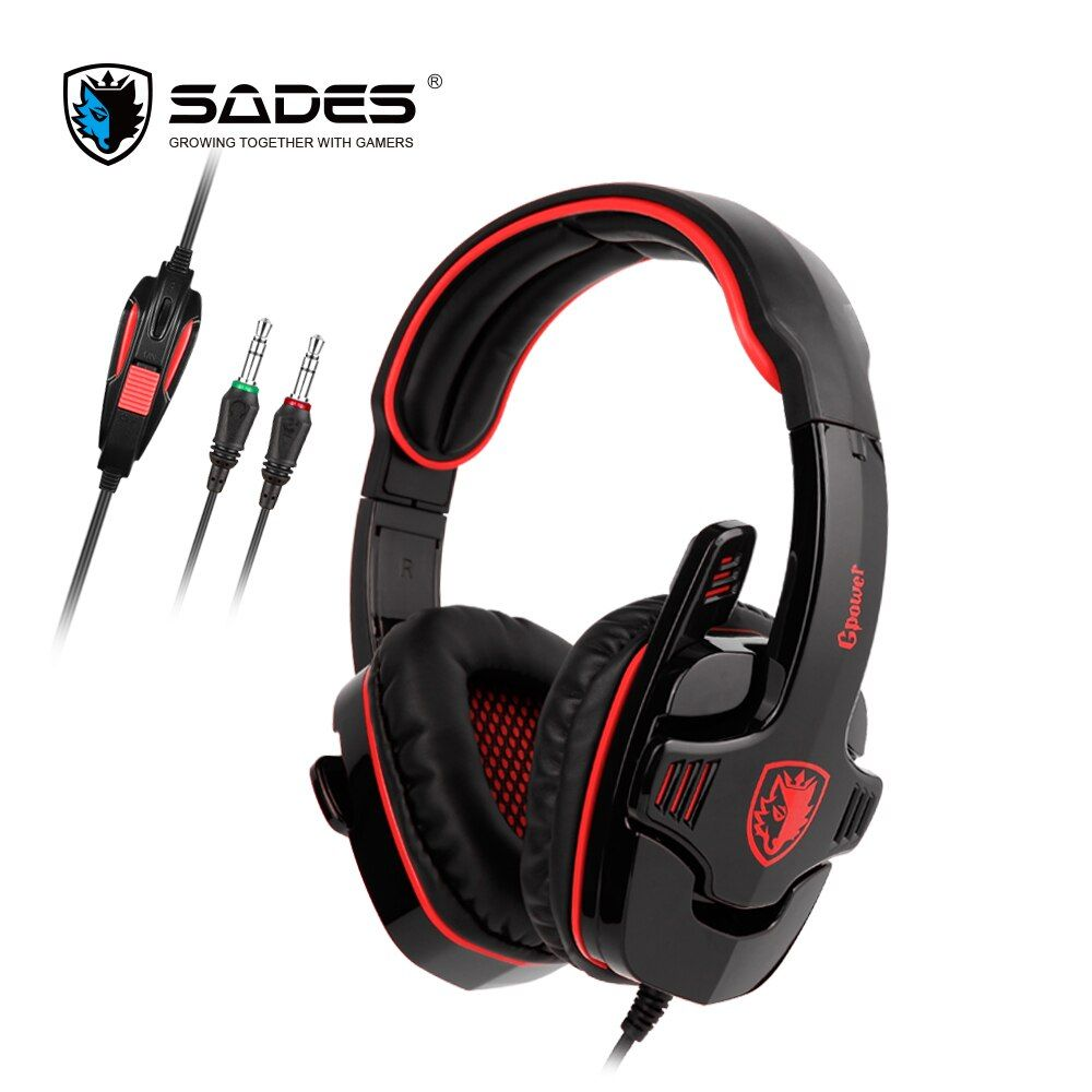 SADES GPOWER Gaming Headset <font><b>3.5mm</b></font> Gamer Headphones Stereo Sound omnidirectional Mic For PC