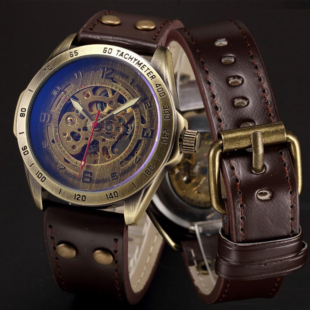 Mechanical Automatic Skeleton Watches Men Steampunk Wrist Watch Power Self Widing <font><b>Bronze</b></font> Antique Leather Clock Mens Wristwatches