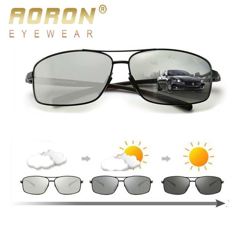 AORON photochromique polarisé hommes lunettes de soleil classique Rectangle lunettes de soleil UV400 aluminium magnésium jambe lunettes de soleil