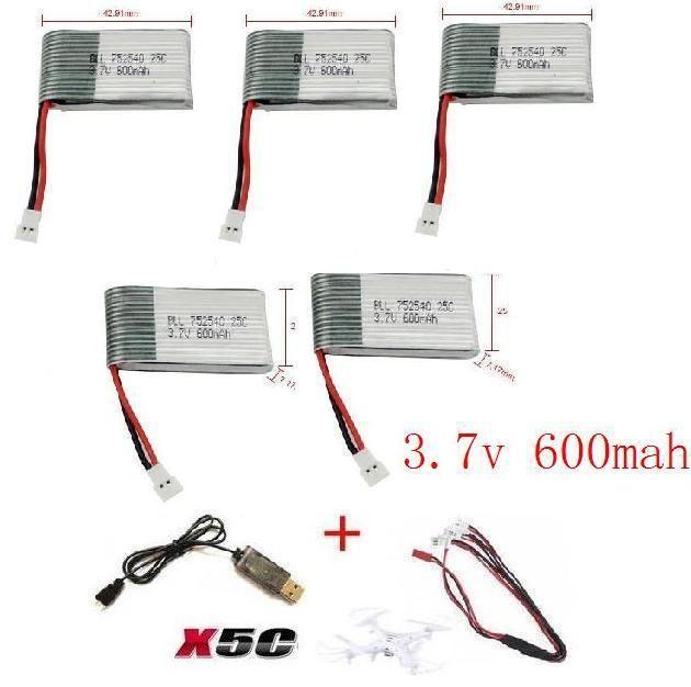 YUKALA x5c x5 x5sc x5sw 2.4G RC quadrirotor 3.7 v 600 mah li-polymère batterie avec câble USB livraison gratuite