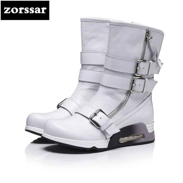 {Zorssar} 2019 New Women Booties Winter Warm Plush Snow boots Genuine Leather Women mid calf Boots flat Botas Mujer Size 41