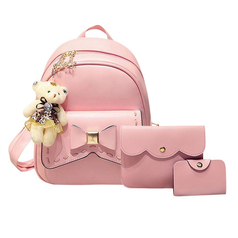 3 шт. бантом рюкзак женщины Crossbody сумка школьные сумки для девочек SAC DOS Femme с сумочкой и Медведь Кожа набор Рюкзак Mochila