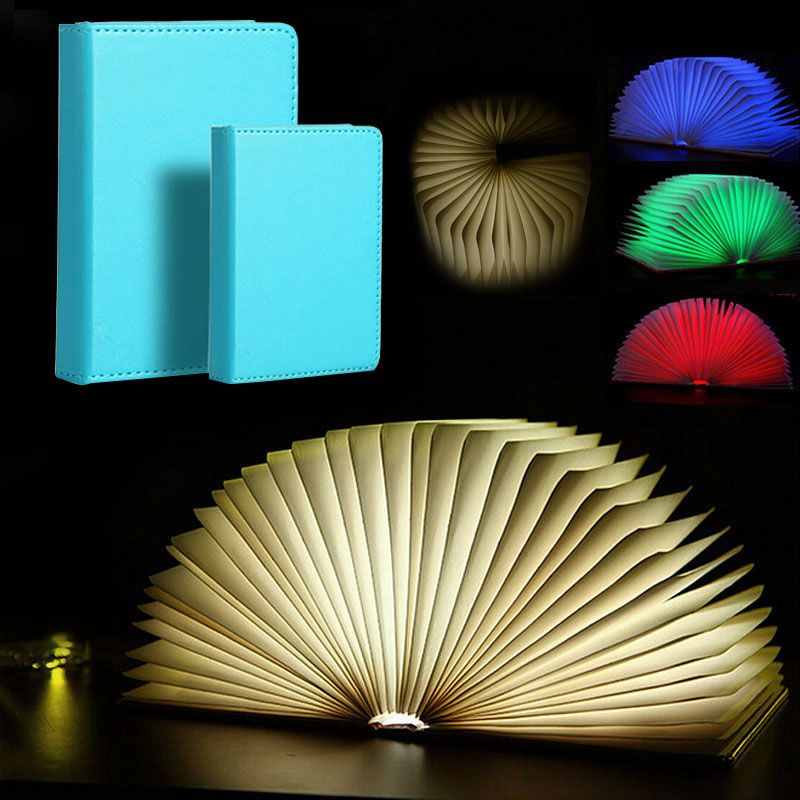 Creative Foldable Pages Led Book Shape Night Light Lighting Lamp Portable Booklight Usb Rechargeable (Small / Big size )