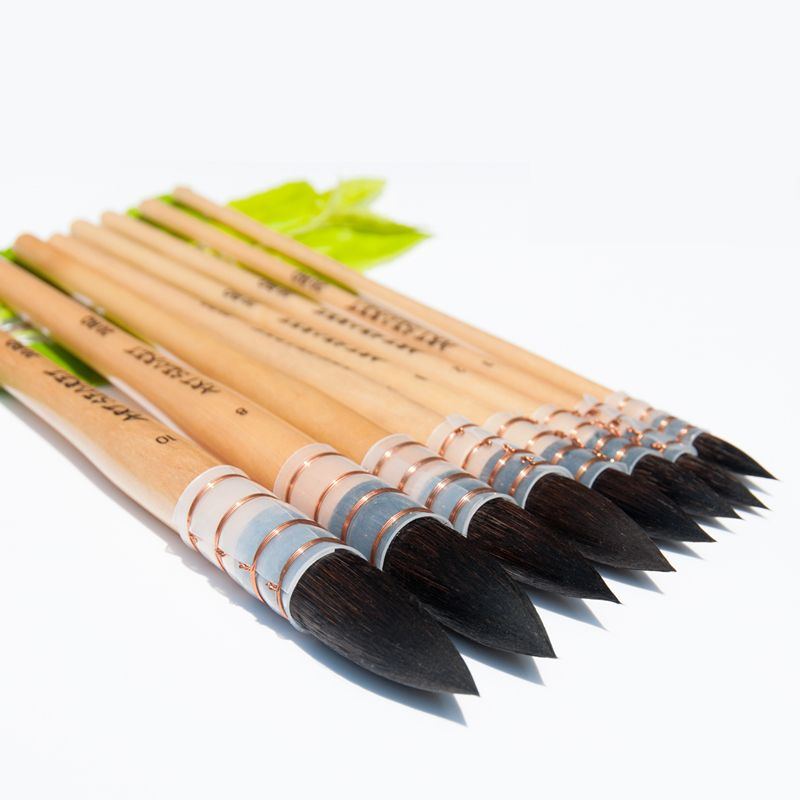 20RQ haute qualité écureuil cheveux court manche en bois peinture Art fournitures pinceaux artistique pour aquarelle brosse