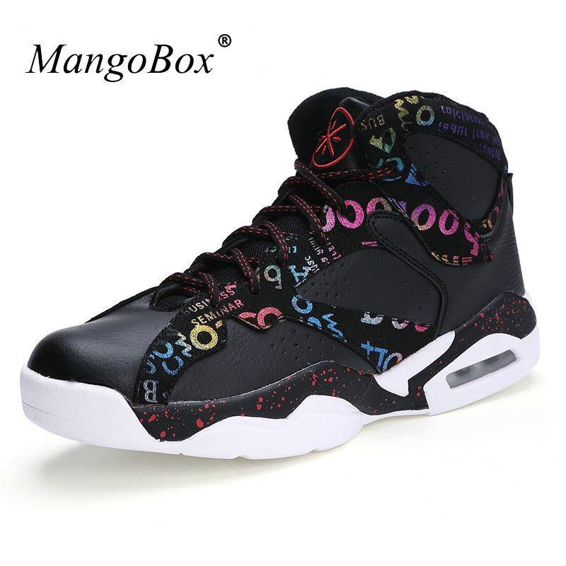 Hot Basketball Shoes for Men 2016 High Top Sneakers Black White Leather Basketball Shoes Man Air Basketball Athletic Boots