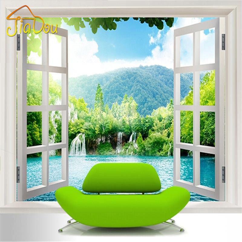 Benutzerdefinierte 3D Wandbild Tapete Fenster 3D Wasserfälle Wald Ansicht Kunstwand Wohnzimmer Schlafzimmer Flur Kinderzimmer Fototapete