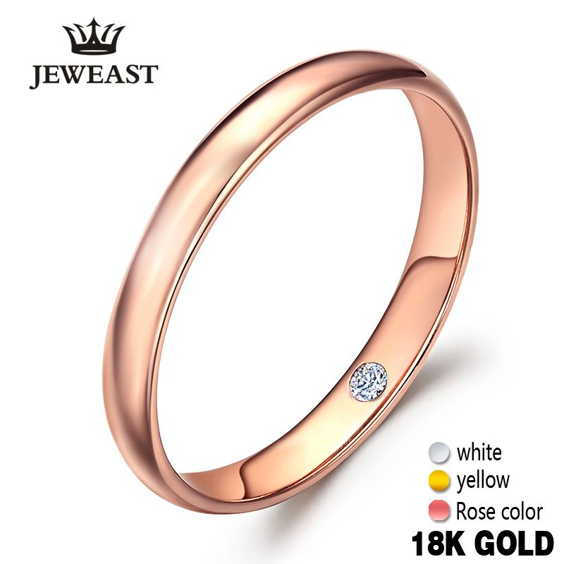 18k Pure Gold Lovers Pair Ring Real 750 Rose Romantic Woman Lady Man Propose Marry Got Engaged Wedding Custom 2017 New