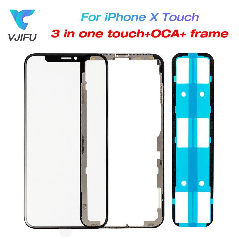 10 teile/los Neue Für iPhone X Touch Glas Screen Panel + OCA + Rahmen Lünette für iPhone X LCD Outer glas Abdeckung Objektiv Reparatur Teile