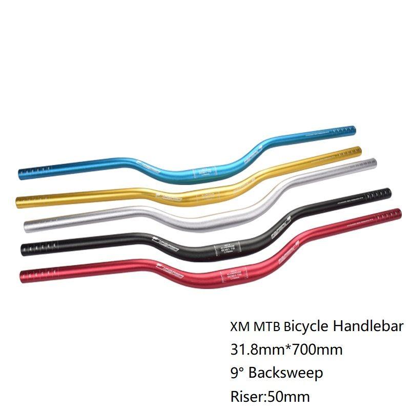 XM vtt guidon de vélo Riser guidon 31.8mm * 700mm en alliage d'aluminium VTT hauteur barre Tube épais 9 degrés