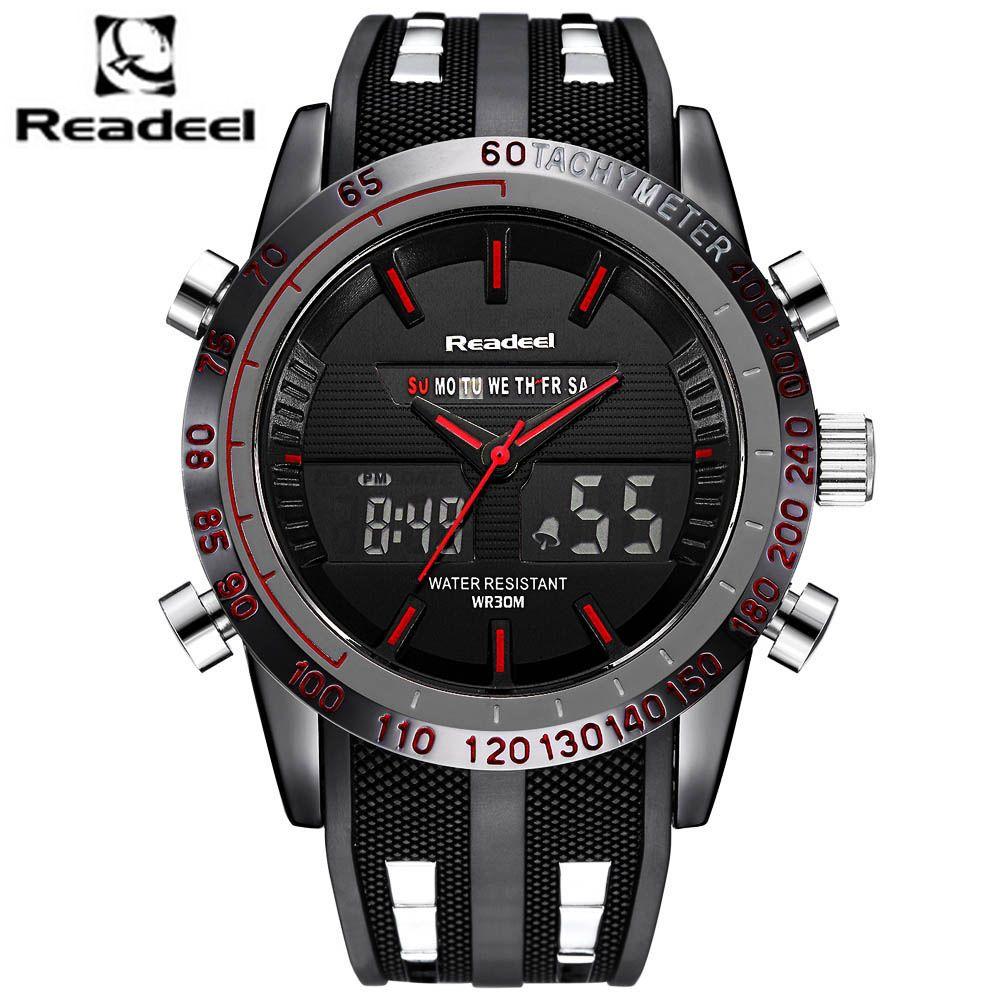 Fashion Brand Men's Sport Watch LED Quartz Army Military Watches <font><b>Swim</b></font> Outdoor Men Waterproof Wristwatches relogio masculino 2017
