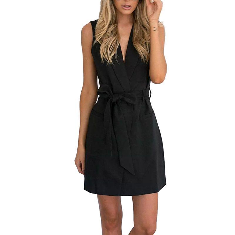 Black White Fashion Sleeveless Jackets Vests For Women Office Lady Elegant Belt Long Outerwear Female Casual Colete Feminino