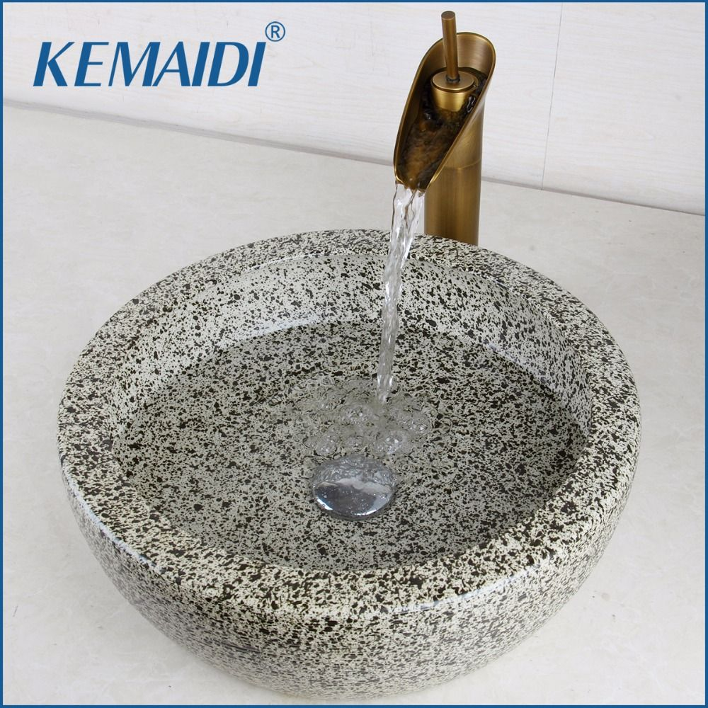 KEMAIDI Luxury Bathroom Sink Hand Paint Washbasin Tempered Ceramic Basin Sink With Waterfall Faucet Taps Vessel Water Drain Set