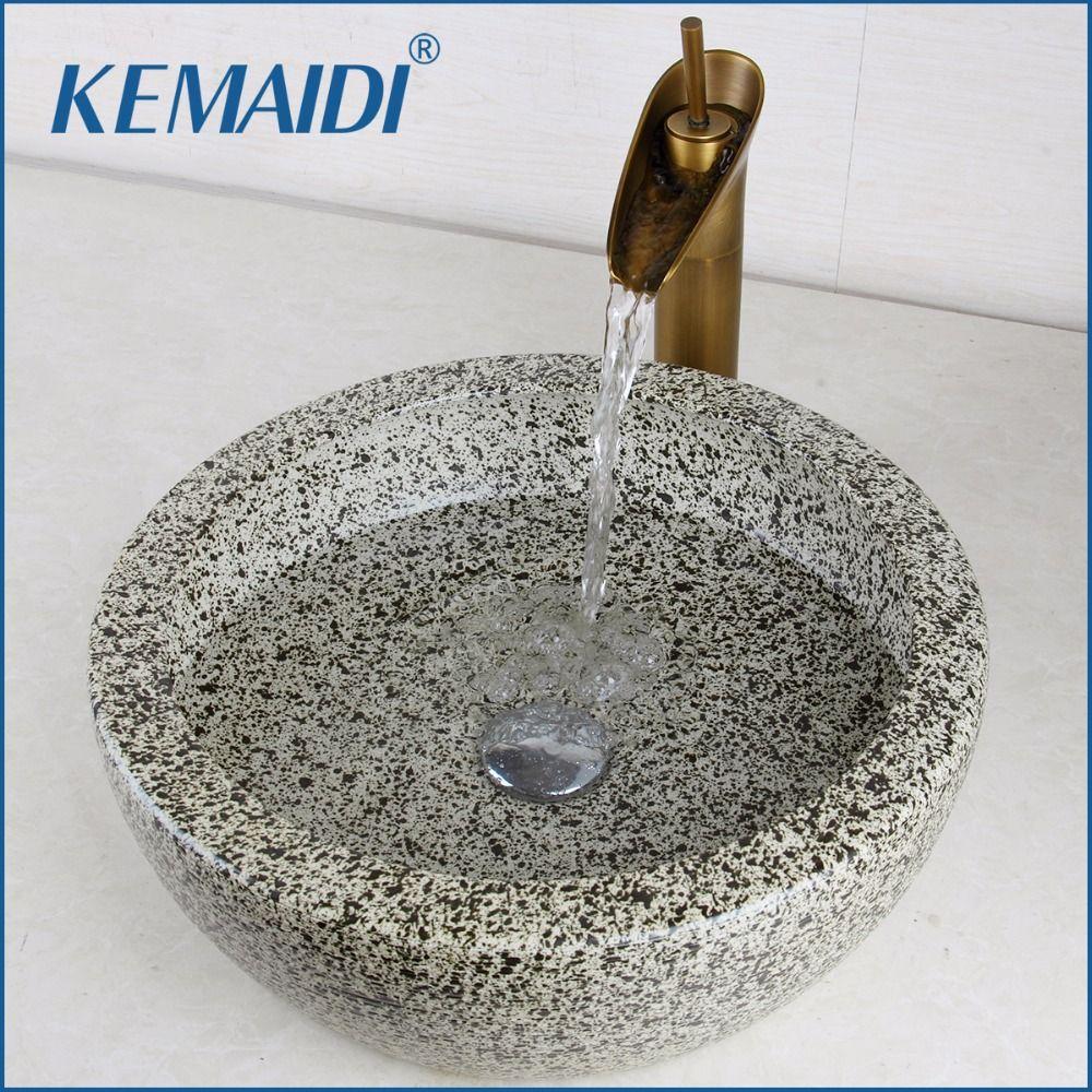 KEMAIDI Luxus Waschbecken Hand Malen Waschbecken Gehärtetem Keramik Becken Waschbecken Mit Wasserfall Wasserhahn Wasserhähne Schiff Wasser Ablauf Set