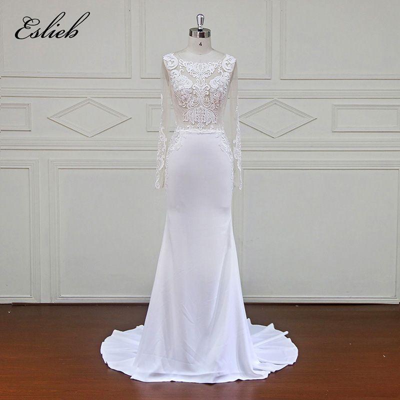 Eslieb High Quality Sheath Lace Wedding Dress Sleeve Custom Made Bride Dress Sheath Button Back vestidos de noiva 2018