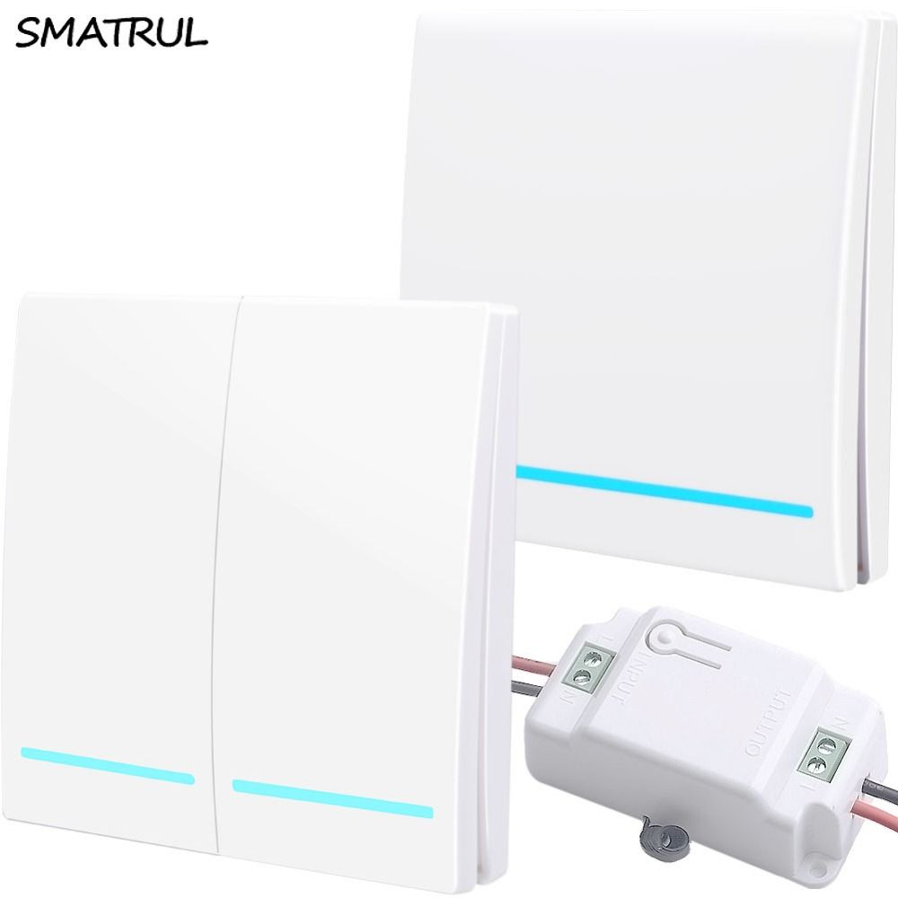 SMATRUL 433Mhz Wireless smart Light Switch RF Remote Control 1000W 50M AC 110V 220V Receiver Wall Panel push button Bedroom Lamp