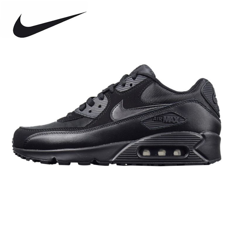 NIKE AIR MAX 90 ESSENTIAL Men's Running Shoes, Outdoor Sneakers Shoes,Black, Breathable Wear-resistant Non-slip 537384 090