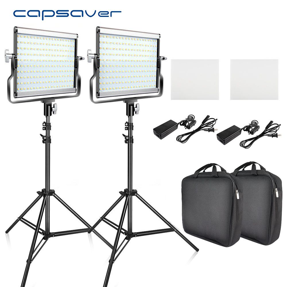 capsaver L4500 2 Sets LED Video Light Kit with Tripod Dimmable Bi-color 3200K-5600K CRI 95 Studio Photo Lamp Metal Panel