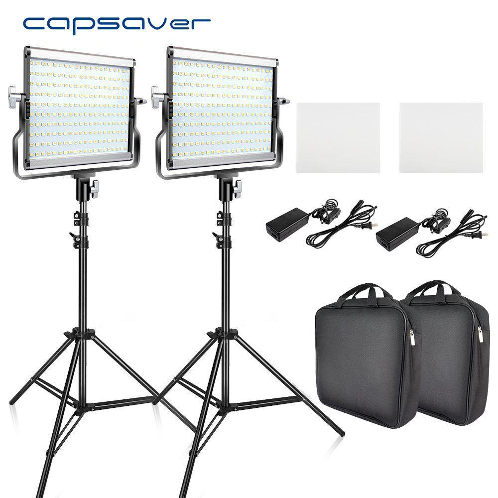 capsaver L4500 2 Sets LED Video Light Kit with Tripod Dimmable Bi-color 3200K-5600K CRI 95 Studio Photo Lamp Metal Panel