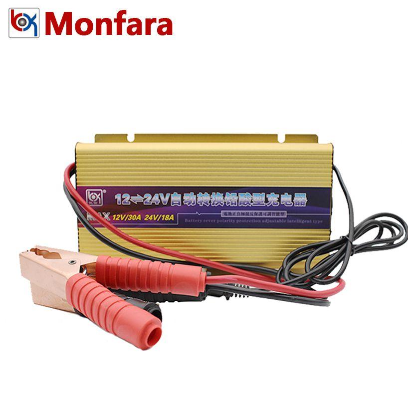 12V 30A 24V 18A Electric Car Boat Forklift Truck Battery Charger for 50-400AH Lead Acid AGM GEL VRLA LED Voltage Current Display